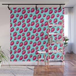 Fun Summery Strawberry Print With Light Blue Background! (Small Scale) Wall Mural