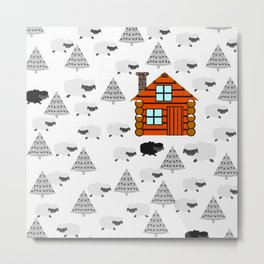 Winter cabin with sheep Metal Print