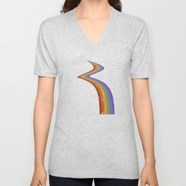Coffee Cup Rainbow Pour // Abstract Barista Wall Hanging Artwork Graphic Design Unisex V-Neck