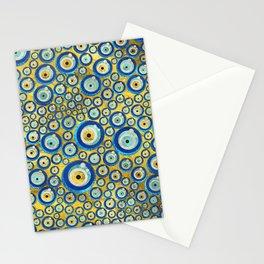 Greek Blue Glass Evil Eye Amulet Pattern Stationery Cards