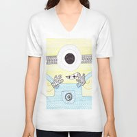 minion V-neck T-shirts featuring minion by di yirou