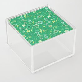 Verdant Flowers on Emerald Background Acrylic Box