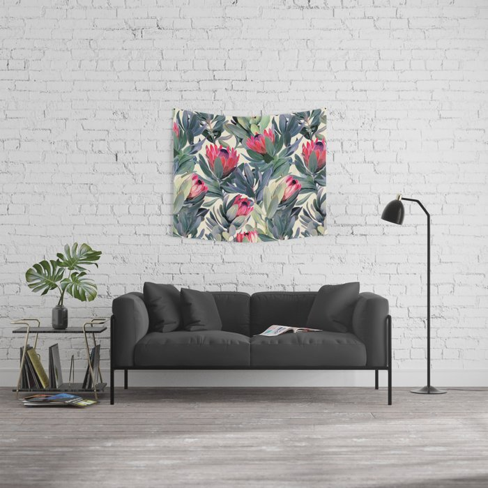 Painted Protea Pattern Wall Tapestry