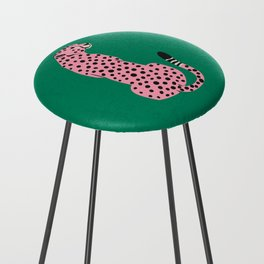 The Stare: Pink Cheetah Edition Counter Stool