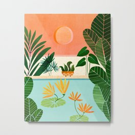 Shangri La Sunset / Exotic Landscape Illustration Metal Print