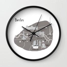 Mapping Berlin - Grey Wall Clock