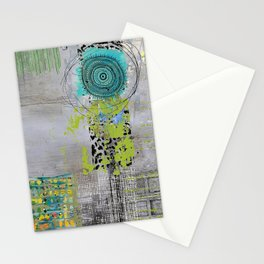 Teal & Lime Round Abstract Art Collage Stationery Cards