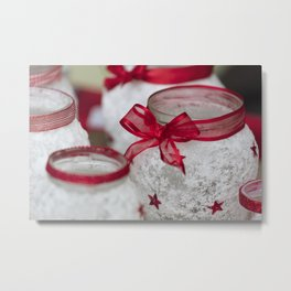 red decoration on vase for Christmas Metal Print