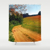 hiking Shower Curtains featuring Hiking trail through springtime nature by Patrick Jobst