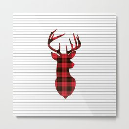 Plaid Deer Head on Minimal Stripes Metal Print