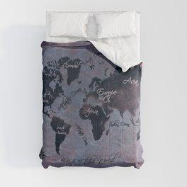 world map 141 red blue #worldmap #map Comforters