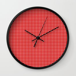 Red Background, White Diamond and Black Spots Wall Clock