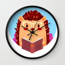 Adorable Hedgehog Book Nerd Shirt  Cute Pun Animal Wall Clock