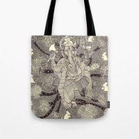 ganesh Tote Bags featuring Ganesh by nu boniglio
