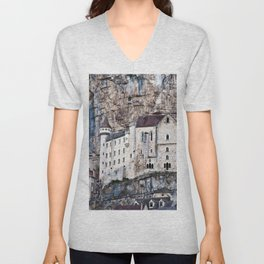 Medieval Facade of the French Castle in Rocamadour Unisex V-Neck