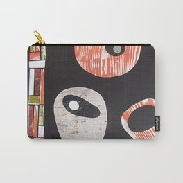 Black Grey Orange Retro Shapes Carry-All Pouch