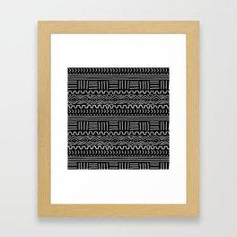 Mud Cloth on Black Framed Art Print
