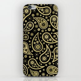 Paisley Funky Design Black and Gold iPhone Skin