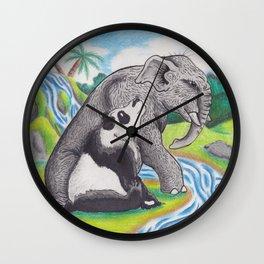 Panda and Elephant Wall Clock