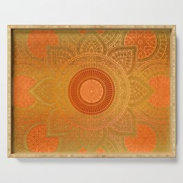 """Savanna Orange-Gold Mandala"" Serving Tray"