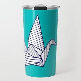 Swan, navy lines on turquoise Travel Mug
