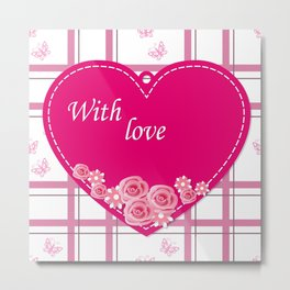 pink heart with roses Metal Print