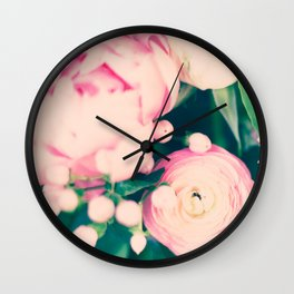 Pastel french peonies Wall Clock