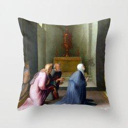 Domenico Beccafumi The Miraculous Communion of Saint Catherine of Siena Throw Pillow