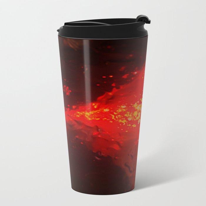 Abstract Red Rain Metal Travel Mug