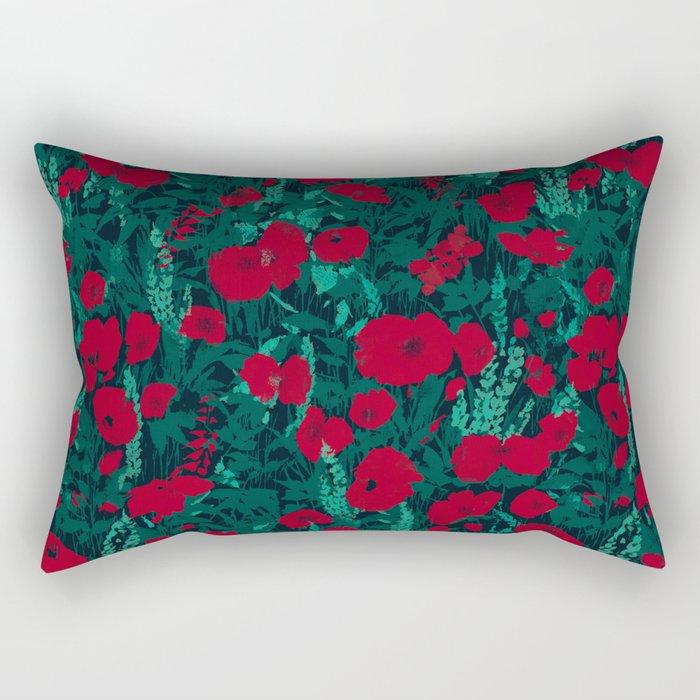 Poppies in the Dark Rectangular Pillow
