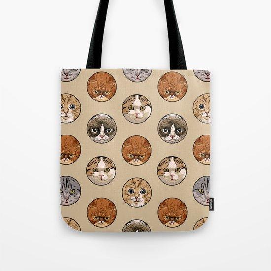 Polka Meaw Tote Bag