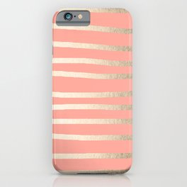 Simply Drawn Stripes in White Gold Sands and Salmon Pink iPhone Case