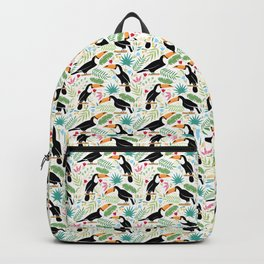 Toucan pattern white Backpack
