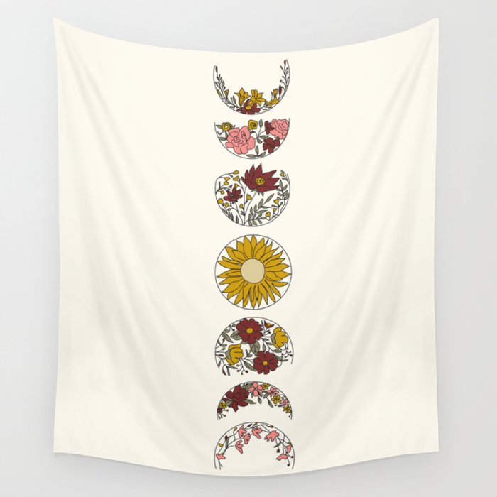 Floral Phases of the Moon Wandbehang