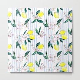 Lemon Leaves Metal Print