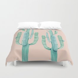 Besties Cactus Friends Turquoise + Coral Duvet Cover