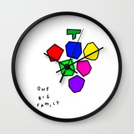 One Big Family - Fruit Illustration Colorful Grape Inspirational  Wall Clock