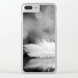White Feather In Black And White Bokeh Background #decor #society6 #buyart Clear iPhone Case