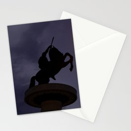 Skopje statue and streetlights at night Stationery Cards