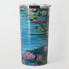 Lily Pond, Impressionism Painting, Pond Flowers Travel Mug