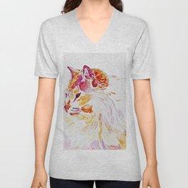Siamese Kitty Cat watercolour by CheyAnne Sexton Unisex V-Neck