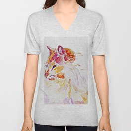 Siamese Kitty Cat watercolour by CheyAnne Sexton Unisex V-Neck