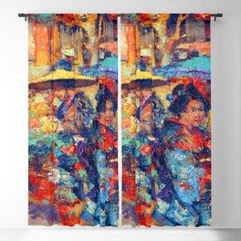 Edward Atkinson Hornel Flower Market Blackout Curtain