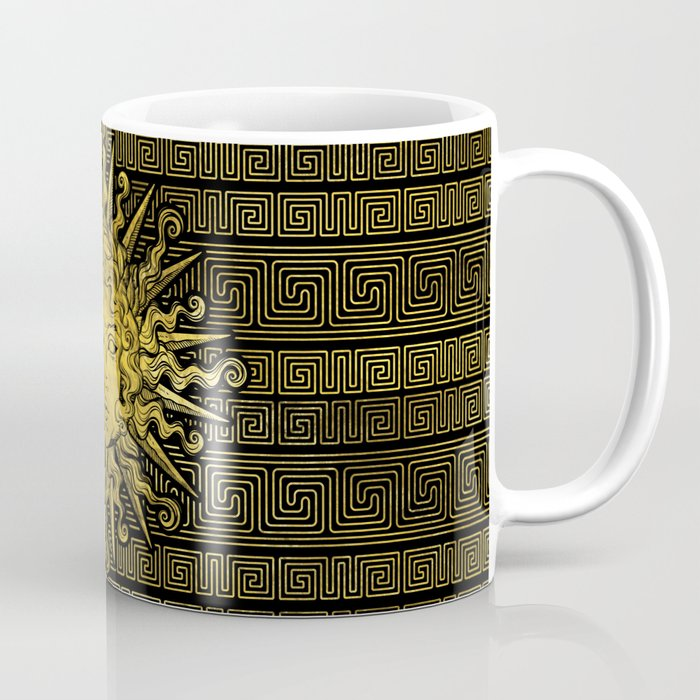 Apollo Sun Symbol On Greek Key Pattern Coffee Mug By K9printart