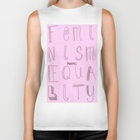 feminism Biker Tanks featuring Feminism = Equality  by noeggsy
