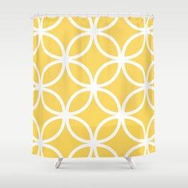 Yellow Geometric Circles Shower Curtain