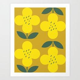 Retro Mustard Yellow Flower Art Print