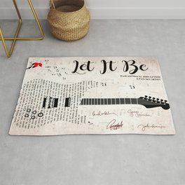 Let It Be The Beat-les Song Music Lyric Vintage Guitar Poster Printed Poster Rug