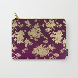 Chic faux gold burgundy ombre watercolor floral Carry-All Pouch