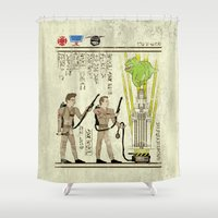 yetiland Shower Curtains featuring hero-glyphics: Slimed by Josh Ln